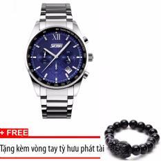 Bán Đồng Hồ Nam Day Thep Khong Gỉ Chạy 6 Kim Skmei Sk096 Mặt Xanh Tặng Kem Vong Tay Tỳ Hưu Rẻ