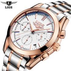 Đồng hồ nam dây thép không gỉ Lige 9808 6 kim lịch lãm (Vàng phối Trắng)