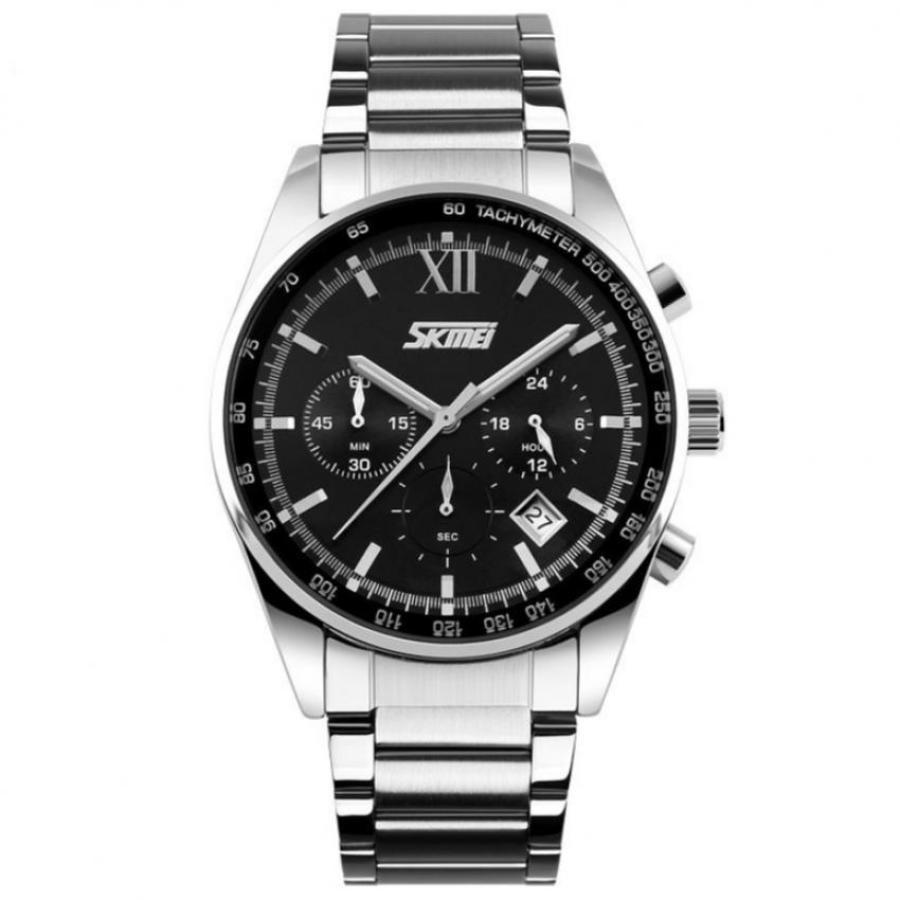 Đồng hồ nam dây thép không gỉ SKMEI 9096 Đen