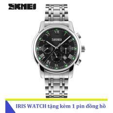Đồng Hồ Nam Day Thep Khong Gỉ Skmei 9121 6 Kim Đen Rẻ