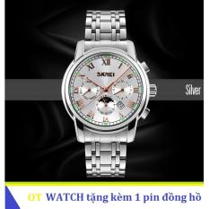 Mua Đồng Hồ Nam Day Thep Khong Gỉ Skmei 9121 6 Kim Quay Trắng Skmei Trực Tuyến