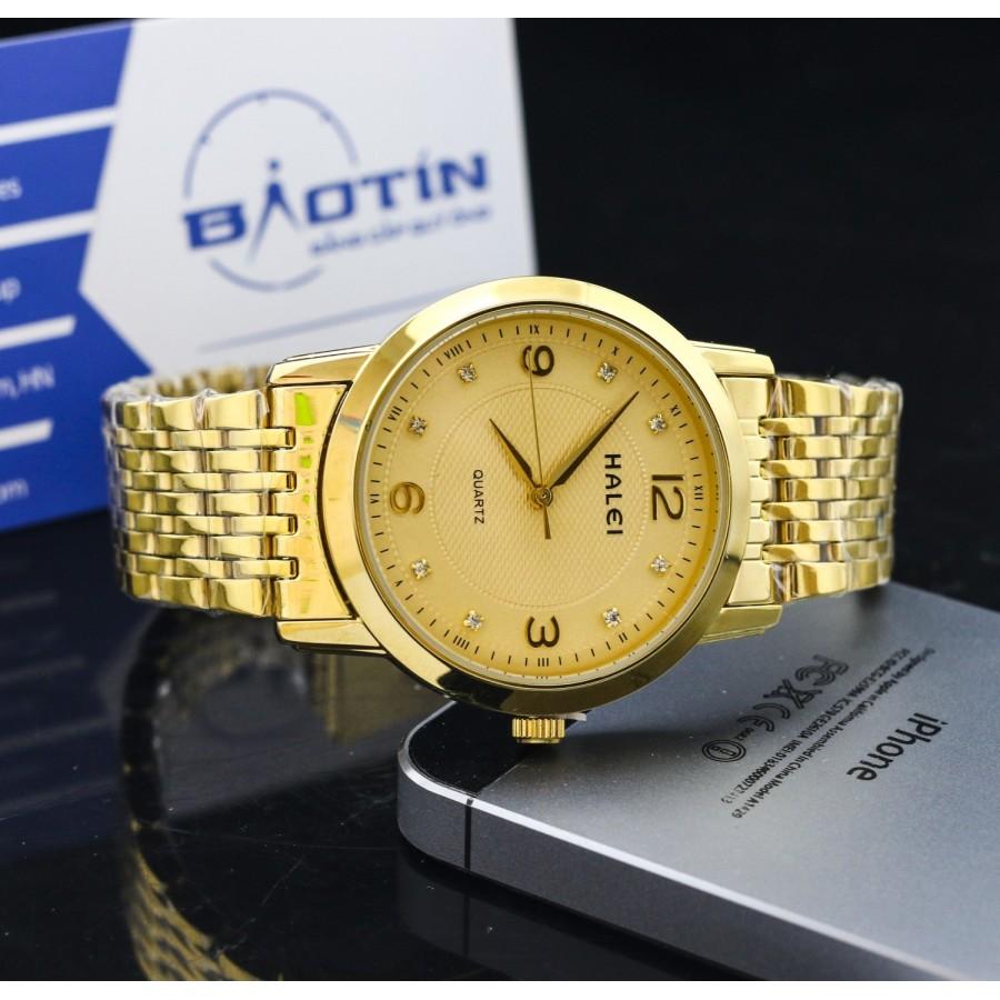 Đồng hồ nam dây thép không gỉ TCT HALEI mạ vàng DHNL1005