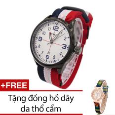 Mua Đồng Hồ Nam Day Vải Curren Xanh Đỏ Trắng Tặng Kem 1 Đồng Hồ Day Da Thổ Cẩm Trực Tuyến