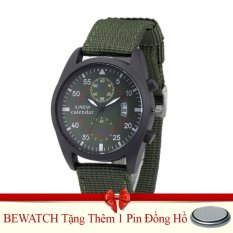 Ôn Tập Đồng Hồ Nam Day Vải Nato Bewatch Xanh Reu Tặng Kem 01 Vien Pin