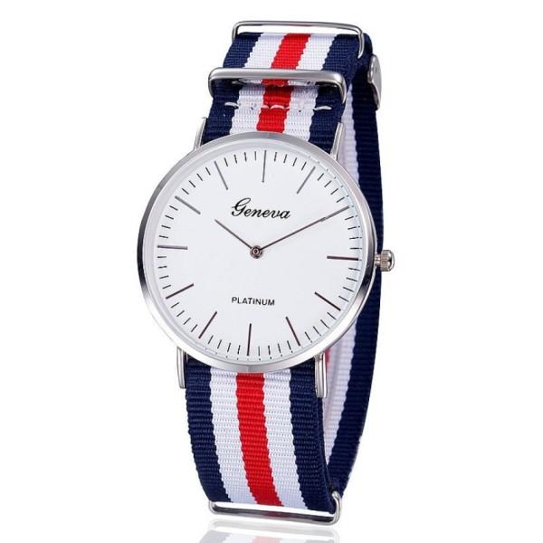 Đồng hồ nam dây vải CATA Shop (Xanh phối đỏ).