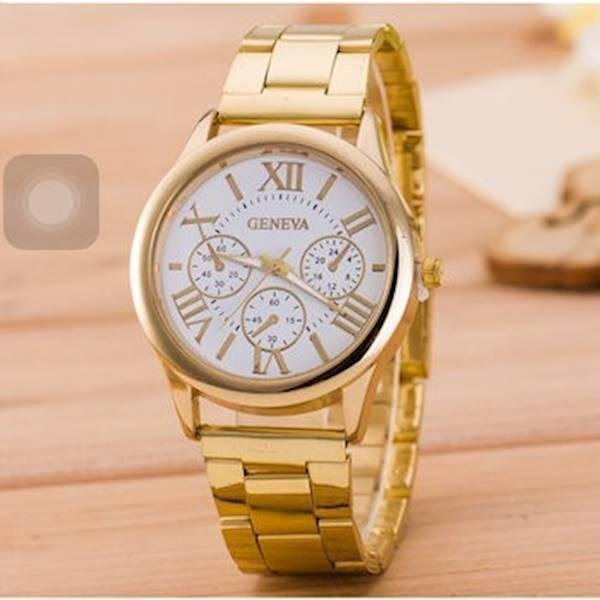 Nơi bán Đồng hồ nam dây thép không gỉ xì ánh kim Genev010 ( vàng)