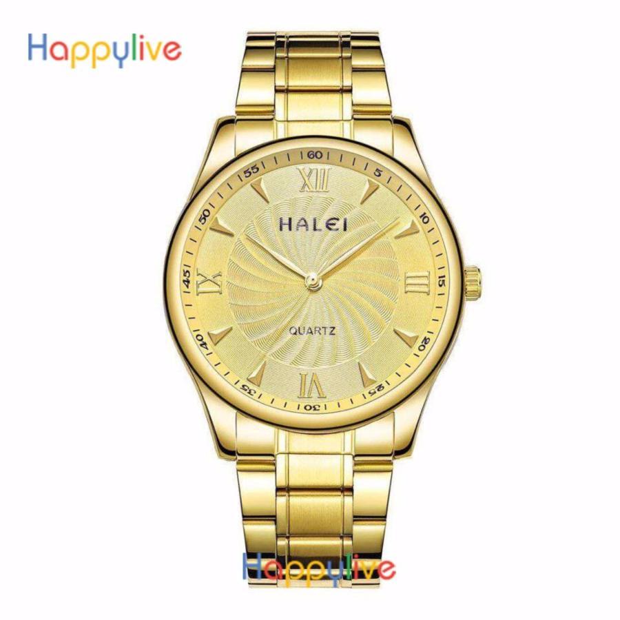 Đồng hồ nam Halei HL158 mặt màu vàng cực men