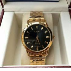Hình ảnh Đồng hồ nam Halei mã 502 dây vàng mặt đen