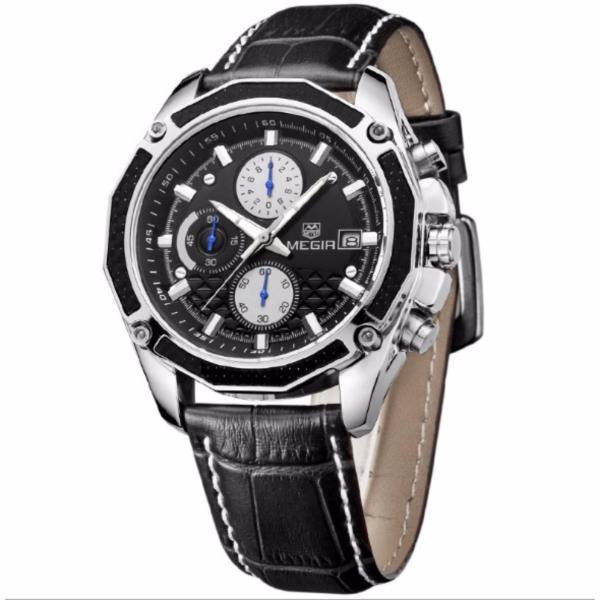 Đồng hồ  nam Megir dây da 2015G chạy full kim ( Dây Đen mặt Đen)