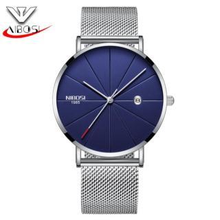 [HCM]Đồng hồ nam Nibosi 2321 DÂY LƯỚI máy mỏng (M Mặt xanh dây trắng) thumbnail