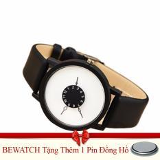Mua Đồng Hồ Nam Nữ Day Da Bewatch Đen Mặt Trắng Tặng Kem 01 Vien Pin Bewatch Nguyên