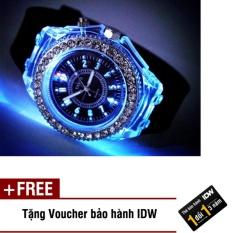 Hình ảnh Đồng hồ nam phát sáng size 4cm dây silicon thời trang Geneva IDW 0451 (Dây đen) + Tặng kèm voucher bảo hành IDW
