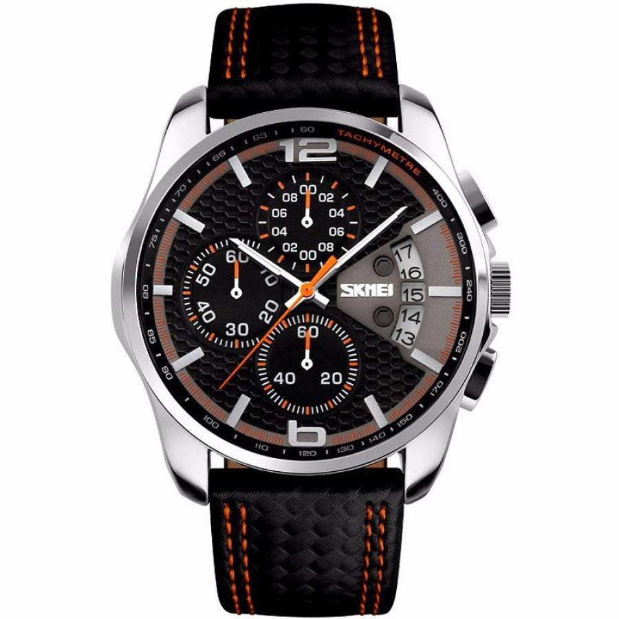Đồng hồ nam SKMEI 9106 dây da viền cam kiểu dáng thể thao MDL9106