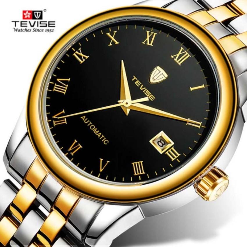 Đồng hồ nam Tevise T80 máy cơ tự động 1 lịch (Mặt Đen dây sọc vàng) bán chạy