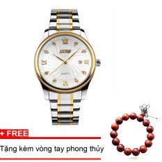 Giá Bán Đồng Hồ Nam Thời Trang Cao Cấp Day Kim Loại Skmei 9101 Trắng Tặng Kem Vong Tay Phong Thủy Nguyên