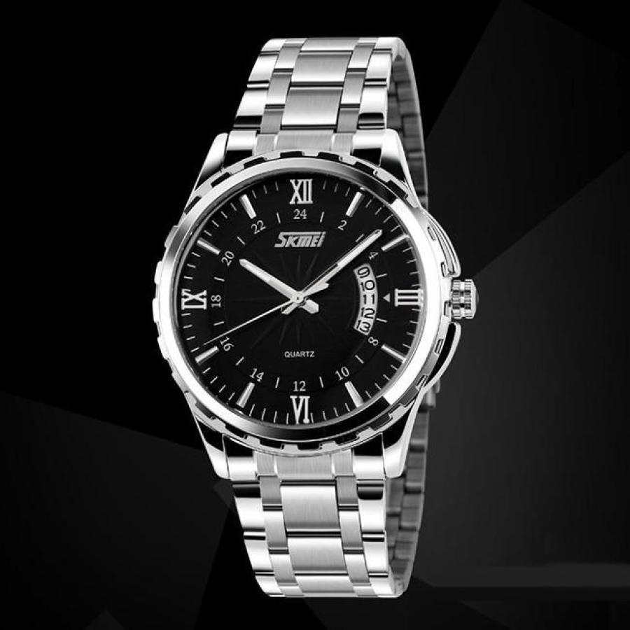 Đồng hồ nam thời trang cao cấp dây thép không gỉ Skmei 9069  Đen  002Đồng hồ nam thời trang Skmei