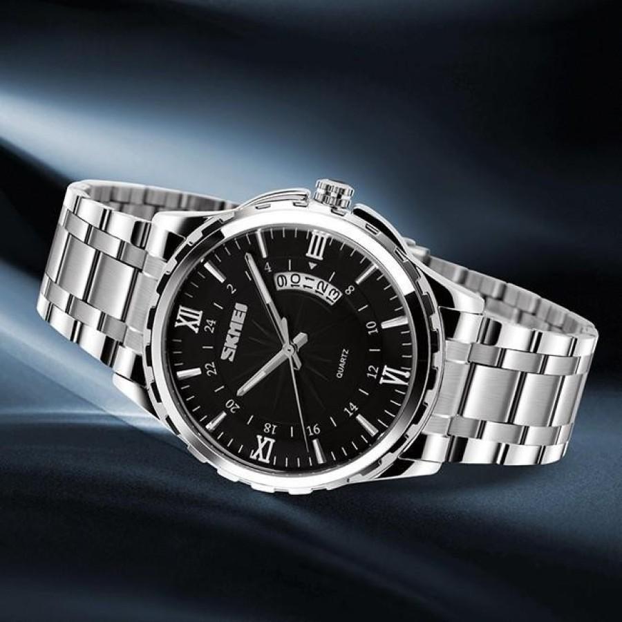 Đồng hồ nam thời trang cao cấp dây thép không gỉ Skmei 9069  Đen  022Đồng hồ nam thời trang Skmei