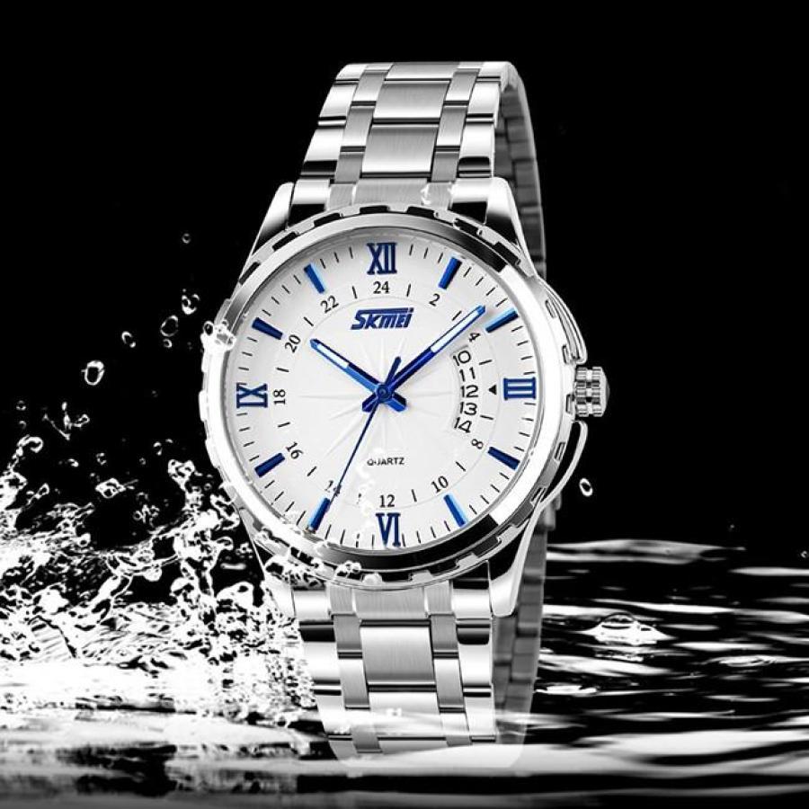 Đồng hồ nam thời trang cao cấp dây thép không gỉ Skmei 9069  Trắng  003Đồng hồ nam thời trang Skmei