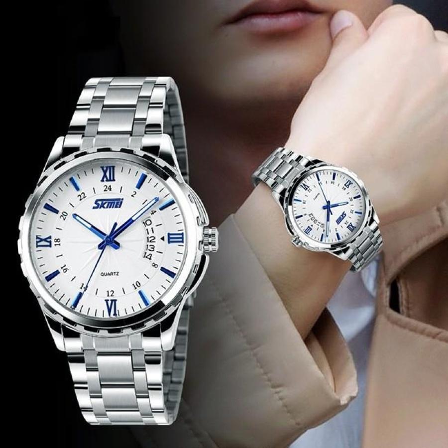 Đồng hồ nam thời trang cao cấp dây thép không gỉ Skmei 9069  Trắng  004Đồng hồ nam thời trang Skmei