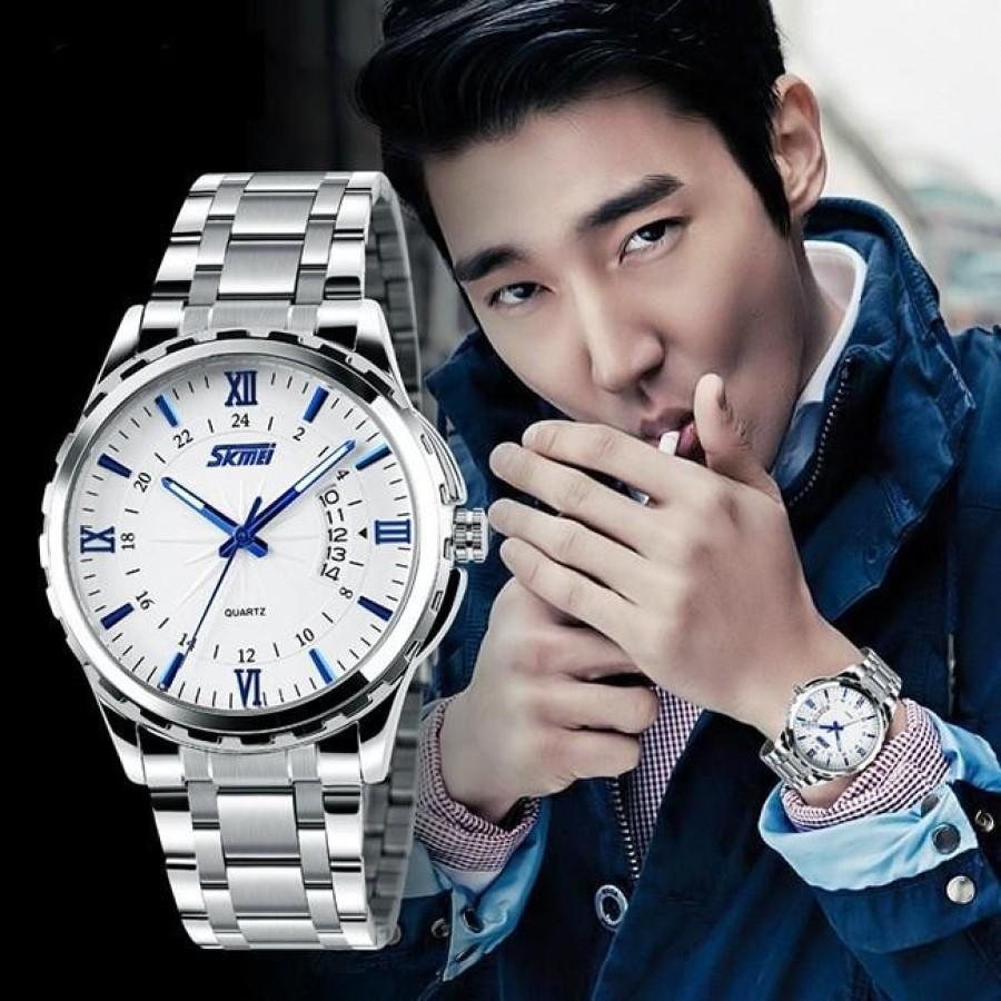Đồng hồ nam thời trang cao cấp dây thép không gỉ Skmei 9069  Trắng  015Đồng hồ nam thời trang Skmei