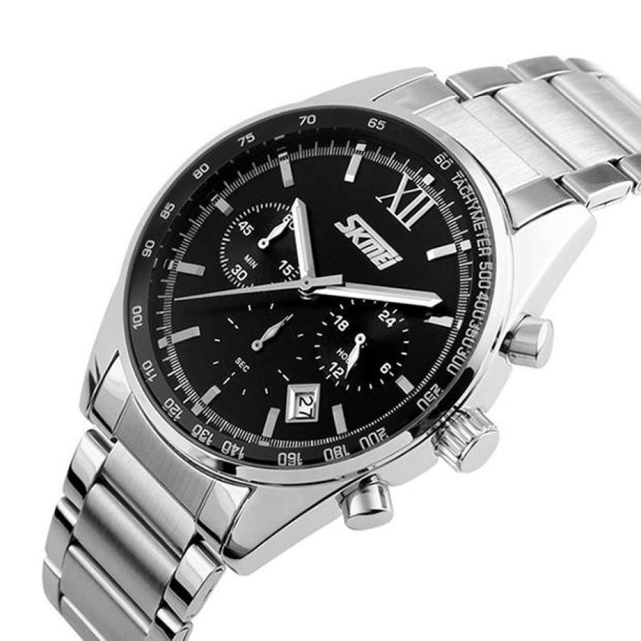 Đồng hồ nam thời trang cao cấp dây thép không gỉ Skmei 9096  Đen  047Đồng hồ nam thời trang Skmei