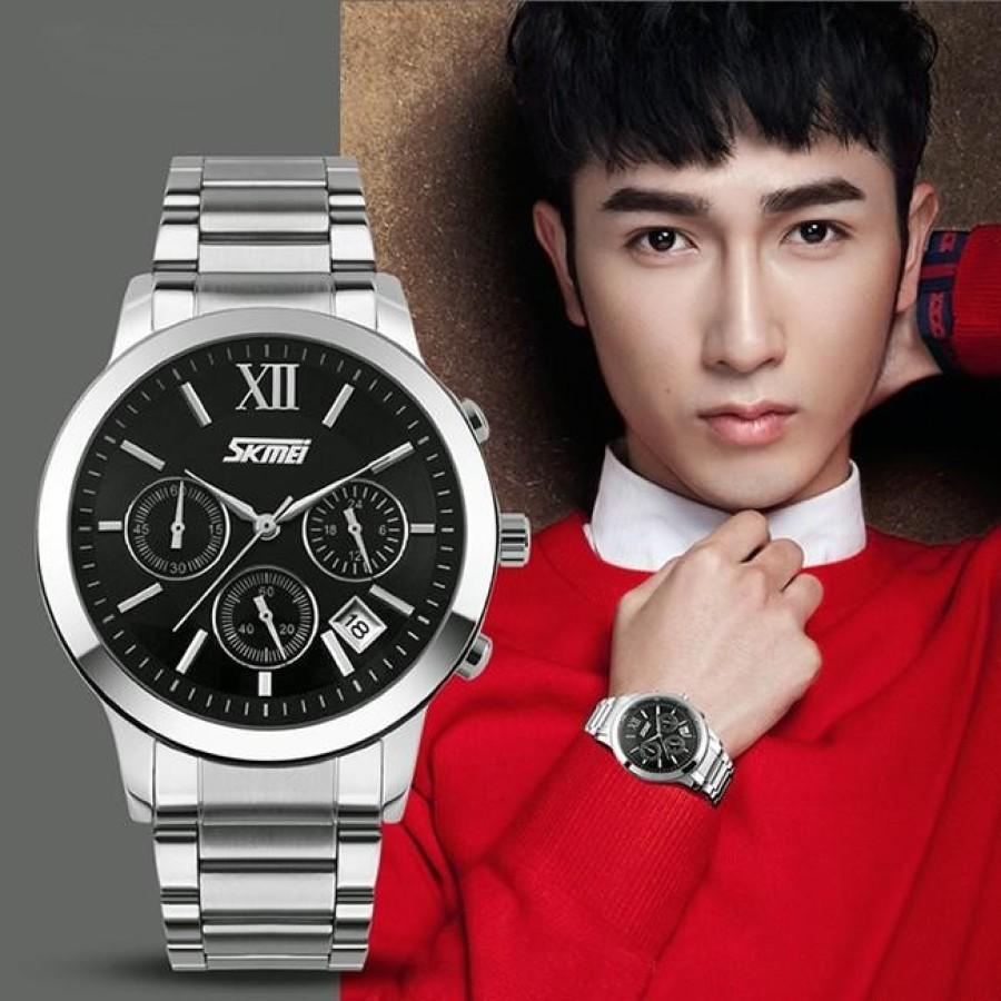 Đồng hồ nam thời trang cao cấp dây thép không gỉ Skmei 9097  Đen  004Đồng hồ nam thời trang Skmei