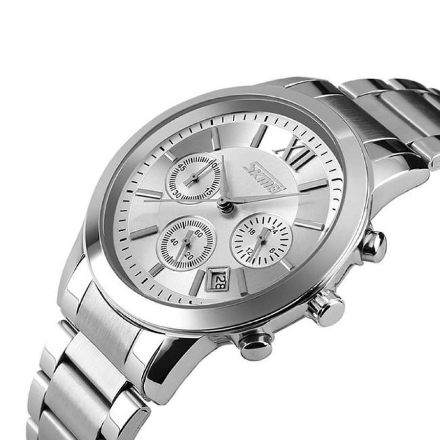 Đồng hồ nam thời trang cao cấp dây thép không gỉ Skmei 9097  Trắng  002Đồng hồ nam thời trang Skmei