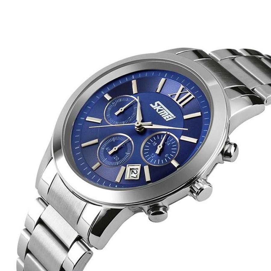 Đồng hồ nam thời trang cao cấp dây thép không gỉ Skmei 9097  Xanh Dương 006Đồng hồ nam thời trang Skmei