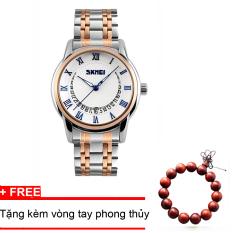 Bán Đồng Hồ Nam Thời Trang Day Kim Loại Cao Cấp Skmei 9122 Trắng Xanh Tặng Vong Tay Phong Thủy Hải Phòng