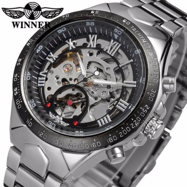 Đồng hồ nam Winner TM432 cơ lộ máy đính đá dây thép không gỉ (Đen) bán chạy