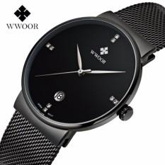 Hình ảnh Đồng hồ nam WWOOR 8018 Full box máy mỏng dây thép không gỉ (Đen)