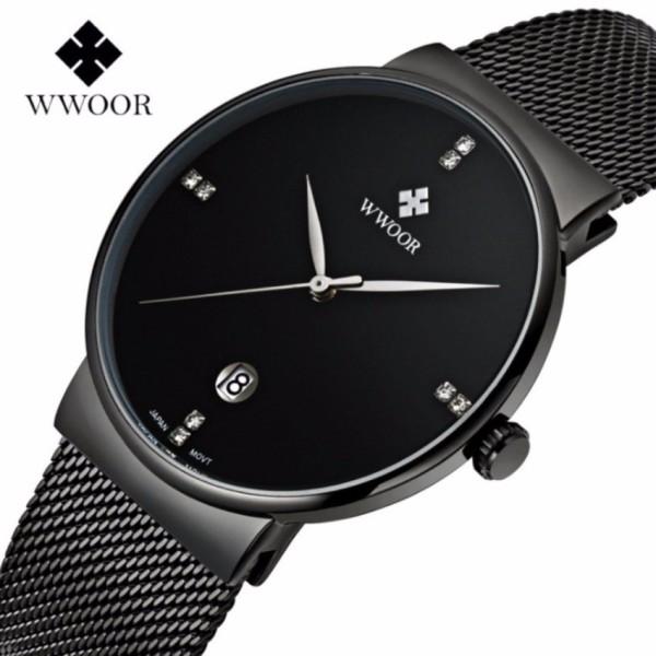 Đồng hồ nam WWOOR 8018 Full box máy mỏng dây thép không gỉ (Đen) bán chạy