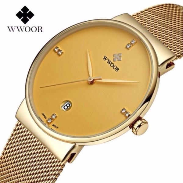 Đồng hồ nam WWOOR 8018 Full box máy mỏng dây thép không gỉ (Vàng) bán chạy