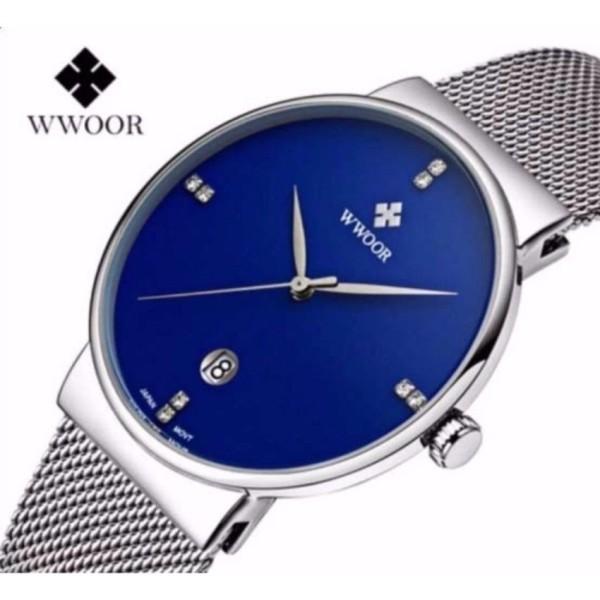 Đồng hồ nam WWOOR 8018 máy mỏng dây thép không gỉ (Xanh) bán chạy