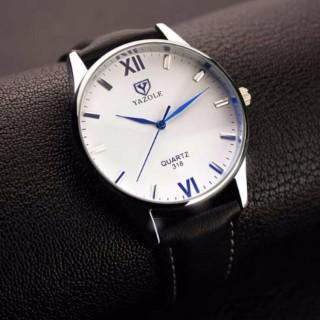 Đồng hồ nam Yazole 318 dây da sang trọng (Mặt Trắng, dây đen) thumbnail