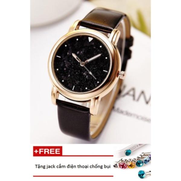 Đồng hồ nữ dây da bền mặt hạt đá Hongxin PKHRHX003-1 (đen) + Tặng 1 jack chống bụi cho điện thoại