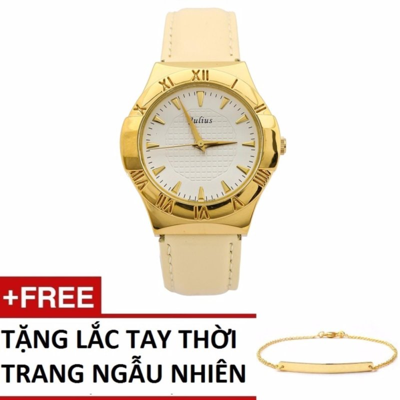 Đồng hồ nữ dây da Julius 1191TSGJU + Tặng lắc thời trang 038TSGVT (Màu ngẫu nhiên)