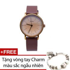 Đồng hồ nữ dây da JULIUS JU1005 (Nâu) + Tặng 1 vòng tay Charm