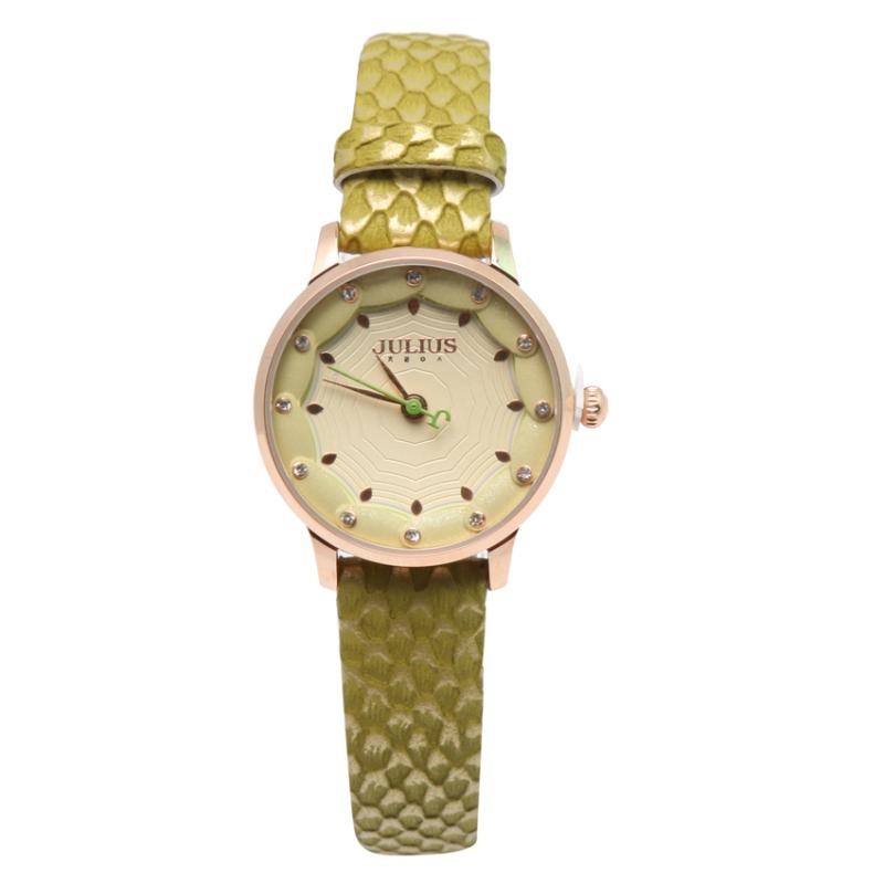 Nơi bán Đồng hồ nữ dây da Julius NEJA-858-GR dây da vằn vàng xanh