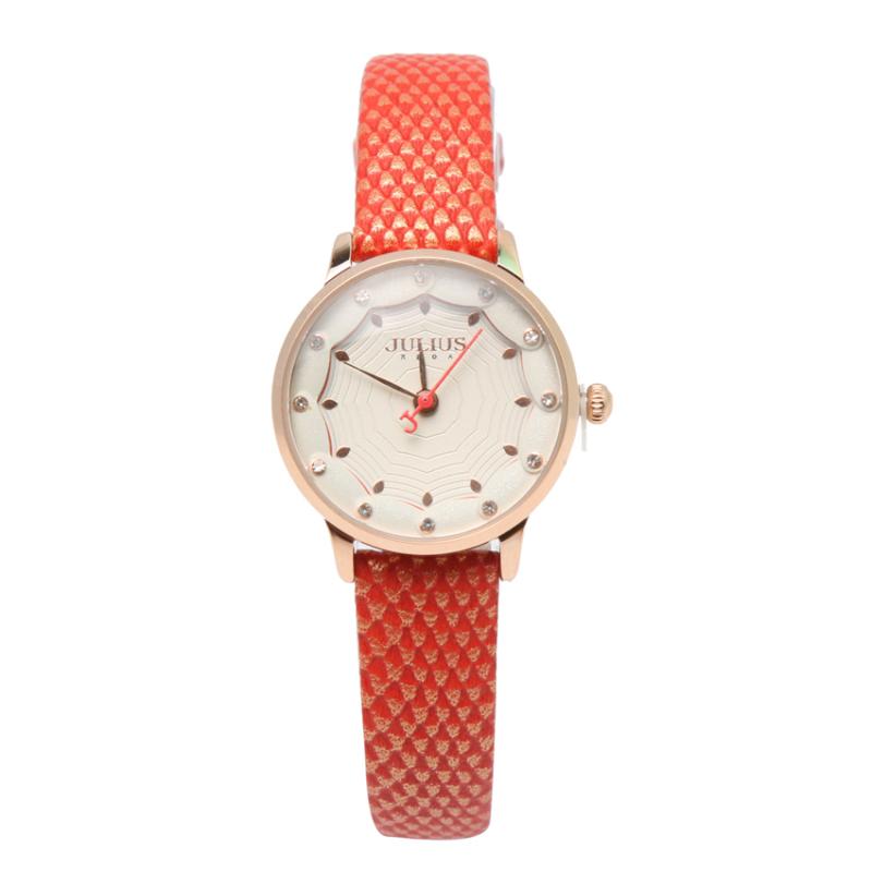 Nơi bán Đồng hồ nữ dây da Julius NEJA-858-R dây da vằn vàng đỏ
