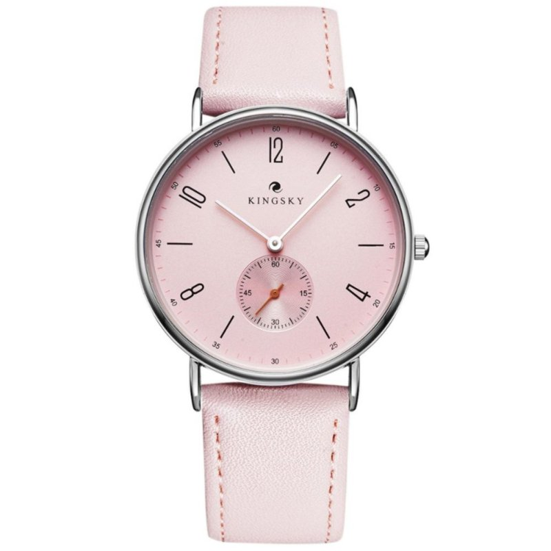 Đồng hồ nữ dây da KingSky  full kim ZE91 (màu hồng phấn)