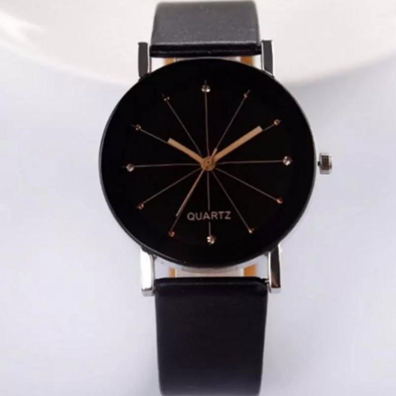 Đồng hồ nữ dây da kính 3D TTP (Đen kim vàng)