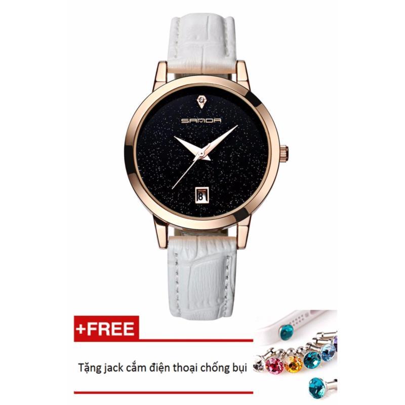 Đồng hồ nữ dây da Sanda PKHRSA001-3 (trắng mặt đen) + Tặng 1 jack chống bụi cho điện thoại
