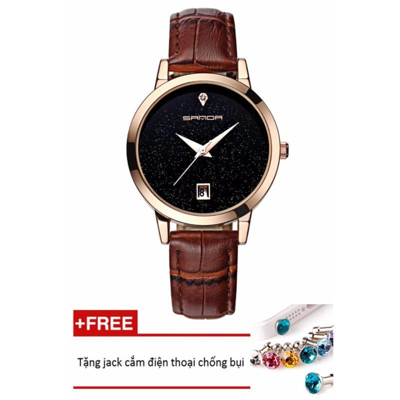 Đồng hồ nữ dây da Sanda PKHRSA001-4 (nâu mặt đen) + Tặng 1 jack chống bụi cho điện thoại
