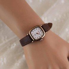 Đồng hồ nữ dây da tổng hợp mặt chữ nhật DH359 (Dây Nâu)