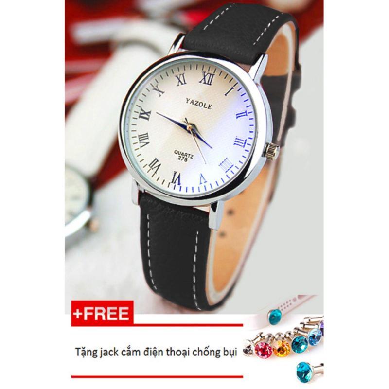 Đồng hồ nữ dây da tổng hợp Yazole PKHRYA004-1 (đen mặt trắng) + Tặng 1 jack chống bụi cho điện thoại