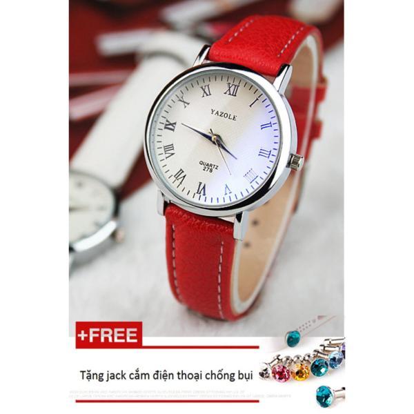 Đồng hồ nữ dây da tổng hợp Yazole PKHRYA004-4 (đỏ) + Tặng 1 jack chống bụi cho điện thoại