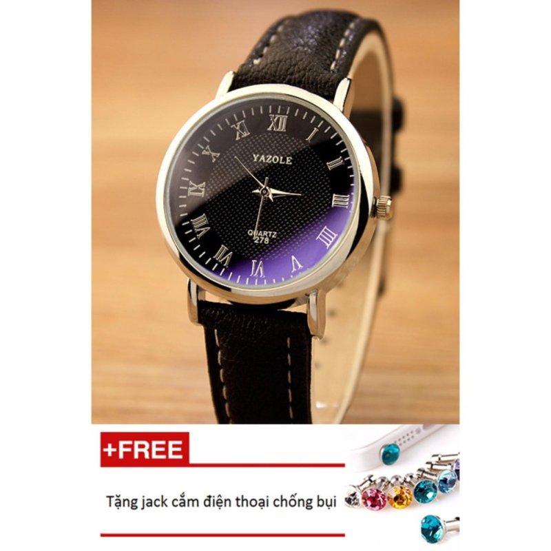 Đồng hồ nữ dây da tổng hợp Yazole PKHRYA004-5 (đen mặt đen) + Tặng 1 jack chống bụi cho điện thoại