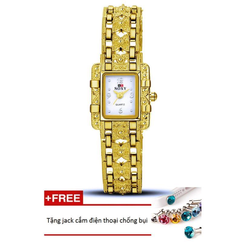 Đồng hồ nữ dây hợp kim Soxy PKHRSY007-1 (vàng mặt trắng) + Tặng 1 jack chống bụi cho điện thoại