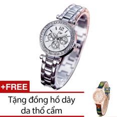 Đồng Hồ Nữ Day Kim Loại Bewatch Trắng Tặng Kem 1 Đồng Hồ Day Da Thổ Cẩm Hà Nội